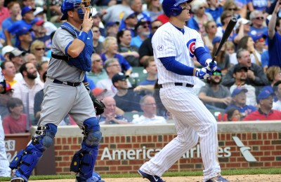 Jun 25, 2015; Chicago, IL, USA; Chicago Cubs first baseman Anthony Rizzo (44) hits a double against the Los Angeles Dodgers during the fifth inning at Wrigley Field. Mandatory Credit: David Banks-USA TODAY Sports
