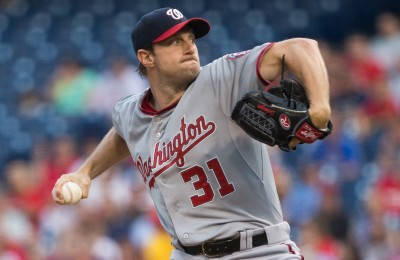 Jun 26, 2015; Philadelphia, PA, USA; Washington Nationals starting pitcher Max Scherzer (31) pitches against the Philadelphia Phillies during the first inning at Citizens Bank Park. Mandatory Credit: Bill Streicher-USA TODAY Sports