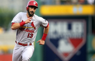 Jul 11, 2015; Pittsburgh, PA, USA; St. Louis Cardinals third baseman Matt Carpenter (13) runs from first to third base against the Pittsburgh Pirates during the third inning at PNC Park. Mandatory Credit: Charles LeClaire-USA TODAY Sports