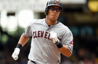 Jul 22, 2015; Milwaukee, WI, USA;  Cleveland Indians center fielder Michael Brantley (23) runs the bases after hitting a three-run home run in the third inning against the Milwaukee Brewers at Miller Park. Mandatory Credit: Benny Sieu-USA TODAY Sports