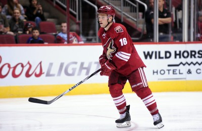 Sep 22, 2014; Glendale, AZ, USA; Arizona Coyotes center Max Domi (16) looks on during the third period against the Los Angeles Kings at Gila River Arena. Mandatory Credit: Matt Kartozian-USA TODAY Sports