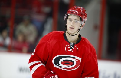 Sep 21, 2014; Raleigh, NC, USA; Carolina Hurricanes defensemen Haydn Fleury (5) looks on before the start of the game against the Columbus Blue Jackets at PNC Arena. The Columbus Blue Jackets defeated the Carolina Hurricanes 4-3. Mandatory Credit: James Guillory-USA TODAY Sports