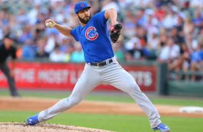 Aug 15, 2015; Chicago, IL, USA; Chicago Cubs starting pitcher Jake Arrieta (49) delivers a pitch during the second inning against the Chicago White Sox at U.S Cellular Field. Mandatory Credit: Dennis Wierzbicki-USA TODAY Sports