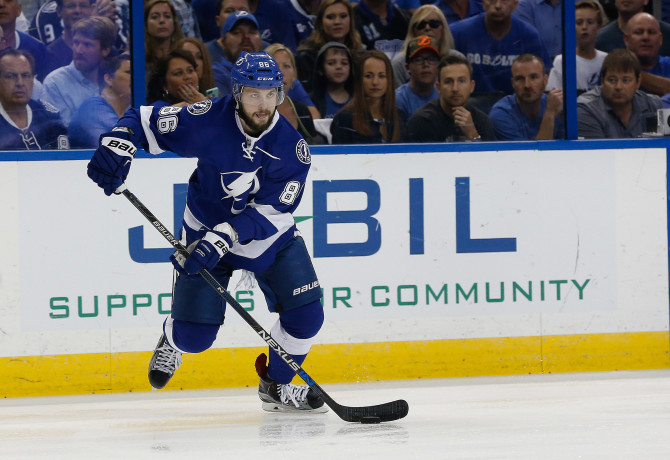 May 20, 2016; Tampa, FL, USA; Tampa Bay Lightning right wing Nikita Kucherov (86) skates with the puck against the Pittsburgh Penguins during the first period of game four of the Eastern Conference Final of the 2016 Stanley Cup Playoffs at Amalie Arena. Mandatory Credit: Kim Klement-USA TODAY Sports